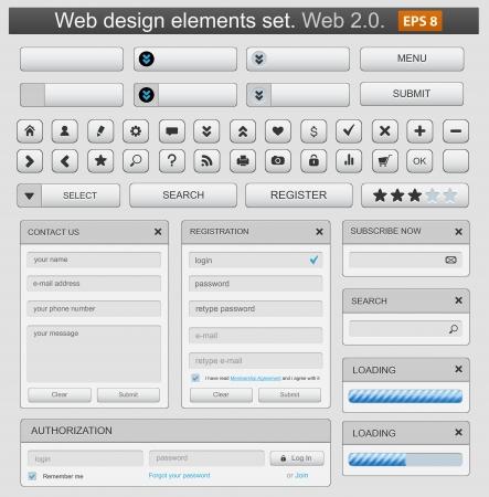 user interface: Web design elemets set white.