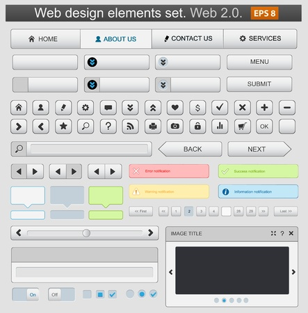 Web design elements set white. Vector