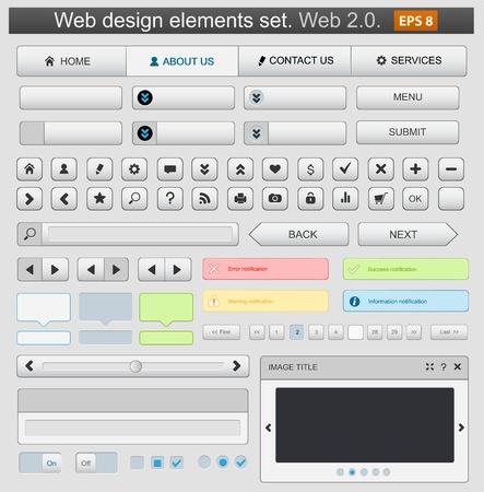 Web design elements set white. Vector