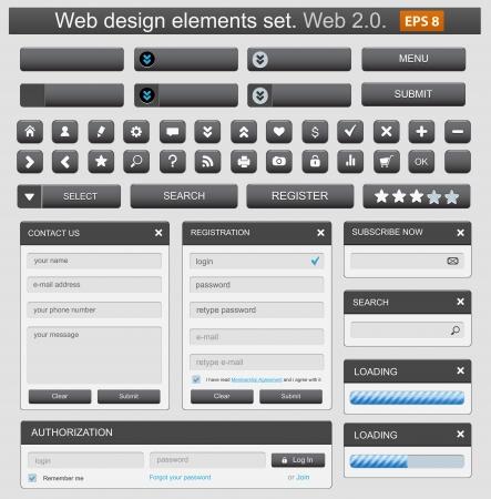 Web design elemets set black. Vector