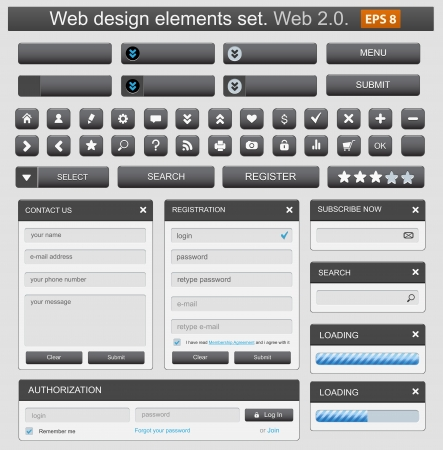 web navigation: Web design elemets set black. Illustration