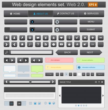 Web design elemets set black. Vector