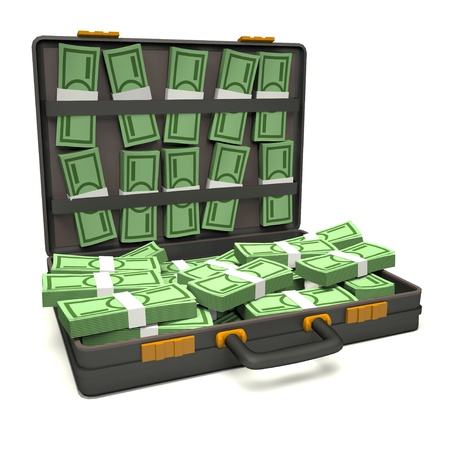 Black briefcase of money. 3d illustration illustration