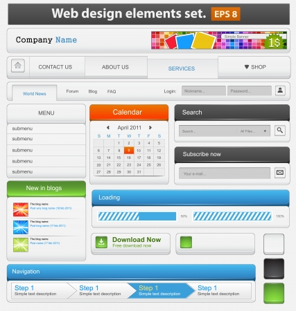 webpages: Web design elements set  illustration