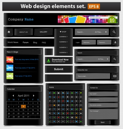 search bar: Black web design elements set Illustration