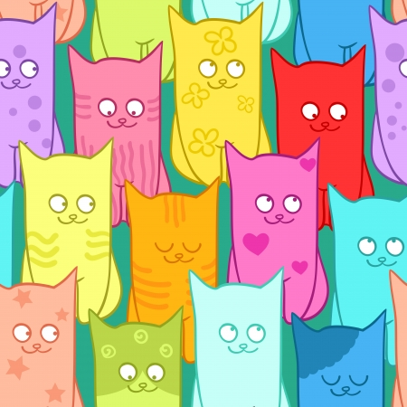 Seamless pattern with funny cats color. Vector illustration