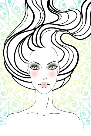 wavy hair: Portrait of beautiful girl with long hair. Vector illustration