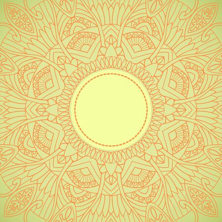 Ornamental round lace in ethnic style. Vector illustration Vector