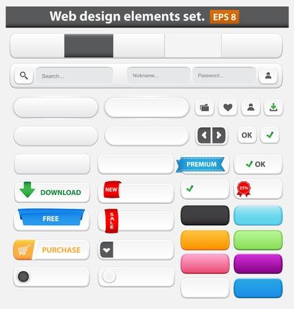 Elementos de diseño Web establecer ilustración vectorial blanco