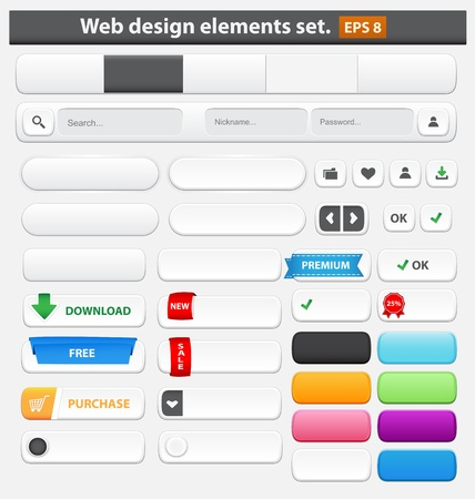 Web design elements set white  Vector illustration