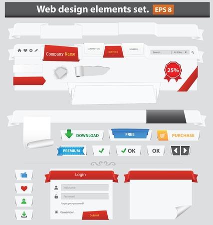 Paper web design elements set  Vector illustration Stock Vector - 15266553