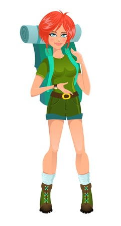 Woman tourist with backpack. Vector illustration