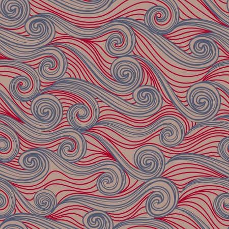 Seamless abstract hand-drawn pattern, waves background. Vector illustration