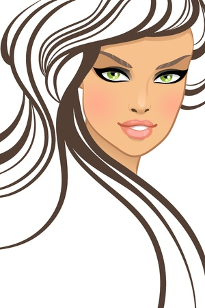 pretty face: Beautiful girl in fashion style.  illustration