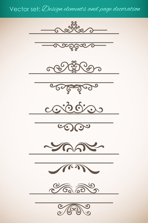Design elements and page decorations set. Vector illustration