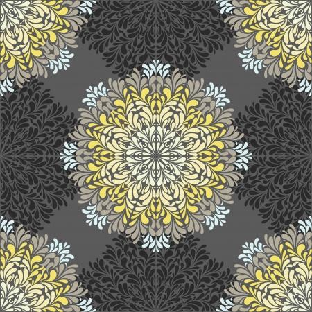 Patrón transparente con elementos abstractos, azulejos damasco. ilustración