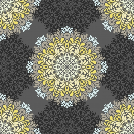 Seamless pattern with abstract elements, damask tiles. illustration Vector