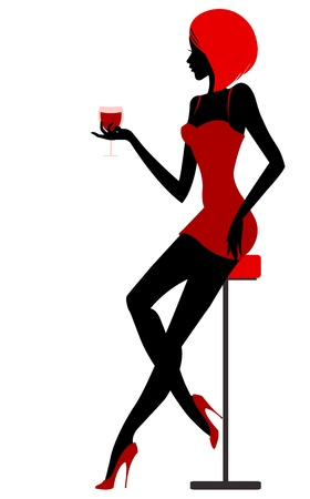 Girl sits in bar with glass in hand. illustration Vector