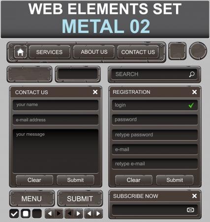 navigation panel: Web design elements set  Metal  Vector illustration