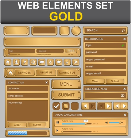 website buttons: Web design elements set  Gold