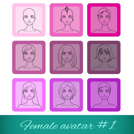 Set of nine female avatars, can be used on the website or forum  Vector illustration Stock Vector - 19481130