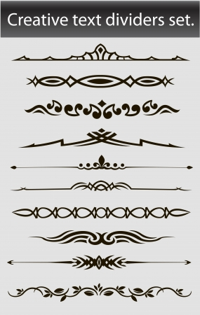 Creative text dividers set  Vector illustration