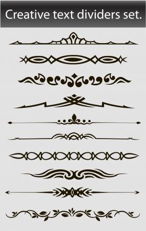 accents: Divisores texto creativo conjunto ilustraci�n vectorial