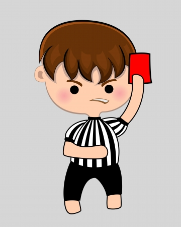 soccer referees hand with red card: Football referee with red card   Illustration