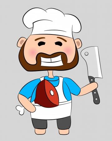 viande couteau: Boucher avec un couteau et la viande