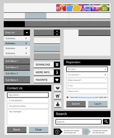 navigation panel: Clean web elements set 2  Vector illustration