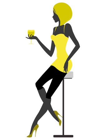 Girl sits in bar with glass in hand. illustration