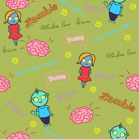 Funny seamless pattern with zombies and brain  Vector illustration Vector