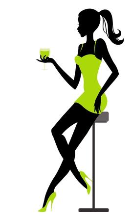 La muchacha se sienta en la barra con un vaso en la ilustración de la mano