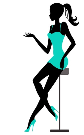 Girl sits in bar. Vector illustration Vector