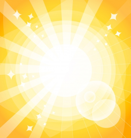 Yellow bright background with rays.   Illustration