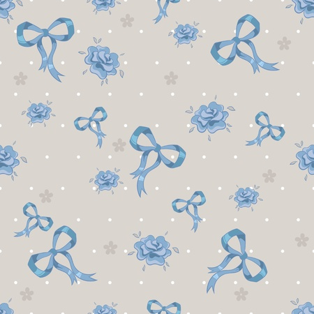 Seamless pattern with ribbons and flowers. Vector illustration Vector