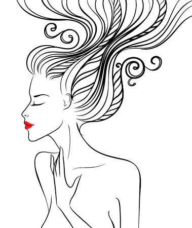 Silhouette of a beautiful girl with swirl hair. Vector illustration Vector