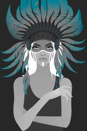 native american woman: Beautiful girl in a headdress of feathers. Vector illustration