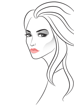 strict: Strict beautiful girl on white. Vector illustration
