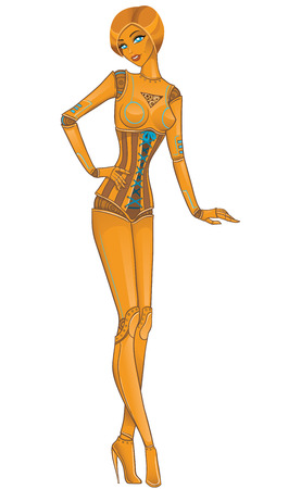 futuristic woman: Beautiful girl robot android on white. Vector illustration Illustration