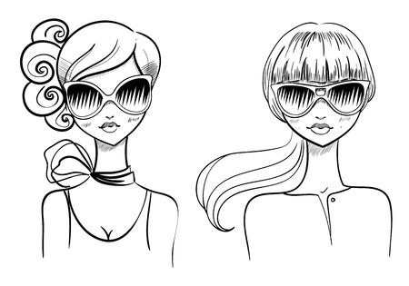 beautiful girl face: Fashionable girls. Drawn by hand. Vector illustration Illustration