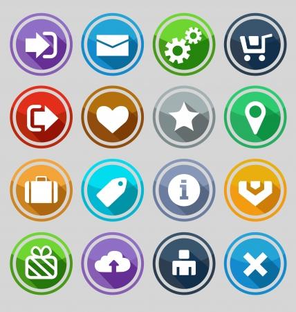 login icon: Web design round buttons set. Vector illustration Illustration