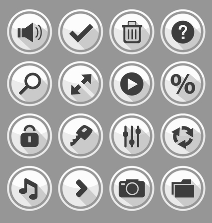 icon buttons: Web design round buttons white set. Vector illustration Illustration
