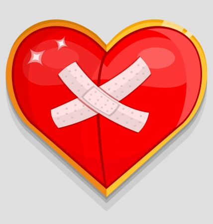 wounded heart: Big red wounded heart. Vector illustration