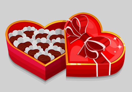 Red heart candy box. Vector illustration Vector