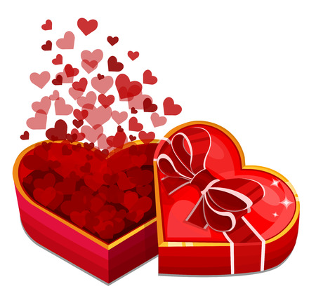 Red heart box with hearts. Vector illustration
