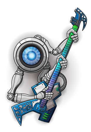 White robot with guitar isolated on white. Vector illustration Vector