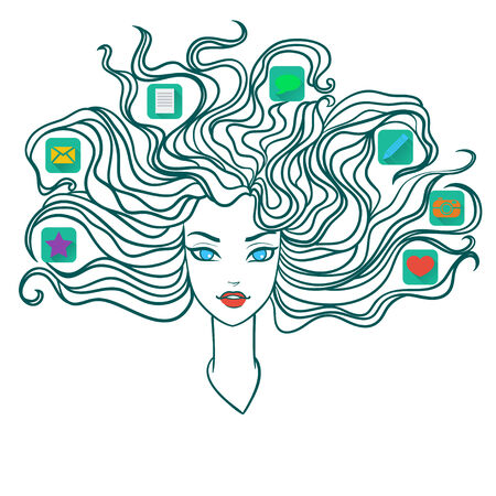 woman computer: Girl with social media icons in hair. Vector illustration