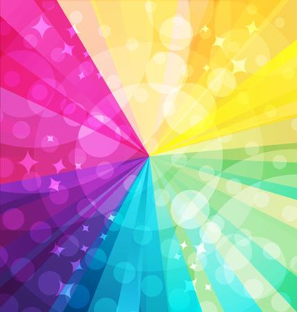 illustraion: Rainbow bright background with rays. Vector illustraion