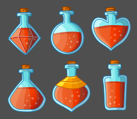 magic potion: Collection of red magical bottles. Vector illustration. Isolated on dark